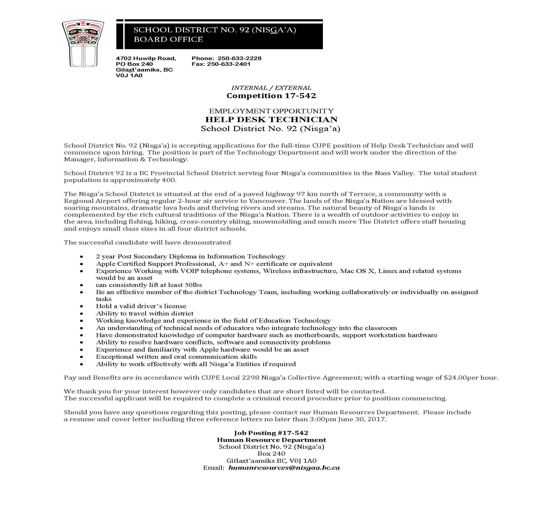 Help desk support technician cover letter